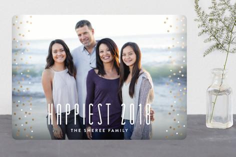 Glamorous Confetti New Year's Photo Cards
