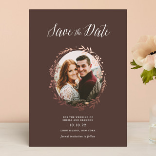 Rustic Modern Floral Save the Date Cards