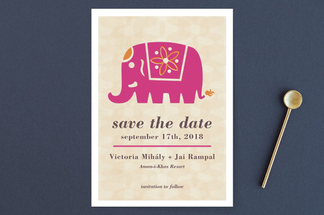 Indian Elephant Save the Date Cards