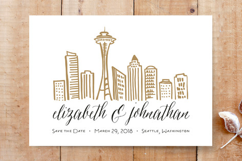 Skyline - Seattle Save the Date Cards
