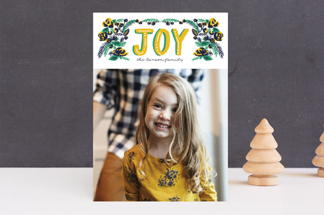 vintage floral joy Holiday Photo Cards