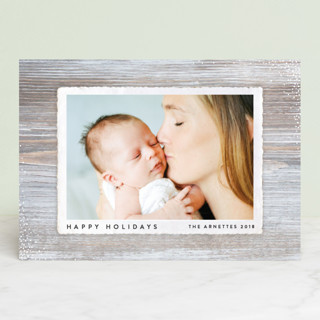 Simple Woodgrain Holiday Photo Cards