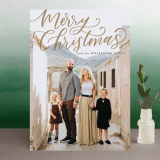 Hand Lettered Merry Christmas Holiday Photo Cards