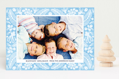 Watercolor Winter Holiday Photo Cards
