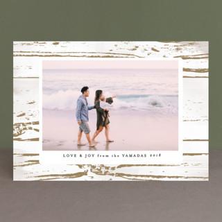 Gilded Woodgrain Holiday Photo Cards