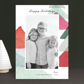 abstract trees Holiday Photo Cards