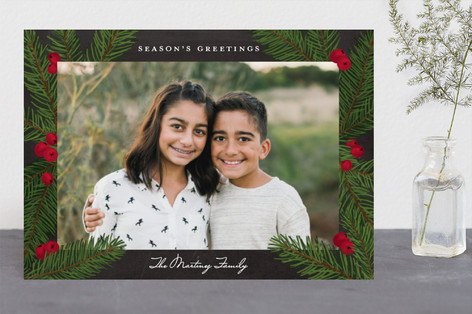 Pine Sprig Frame Holiday Photo Cards