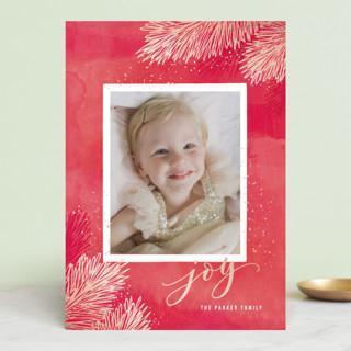 Metallic Pine Brush Holiday Photo Cards