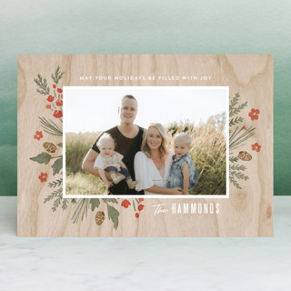 Wooden Frame Holiday Photo Cards