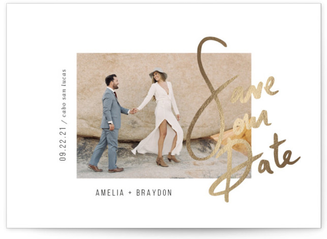 Amelia Foil-Pressed Save The Date Cards