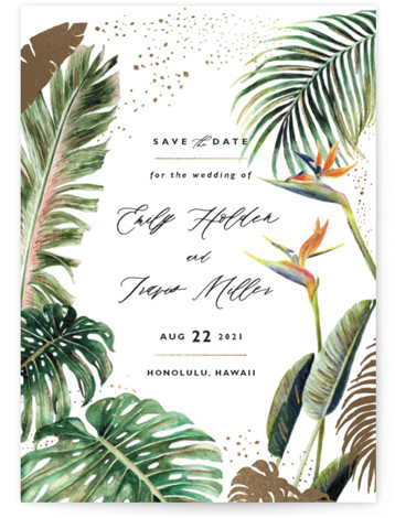 Our Paradise Foil-Pressed Save The Date Cards