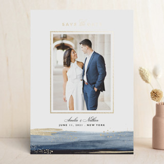 Paintbrush Foil-Pressed Save The Date Cards