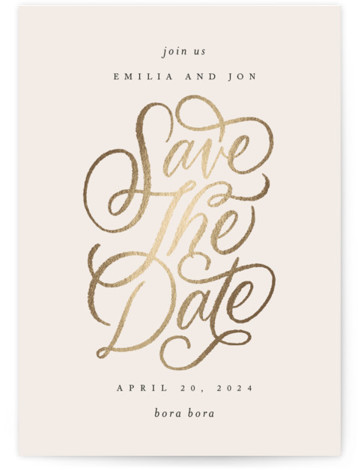 Gilded Foil-Pressed Save The Date Cards