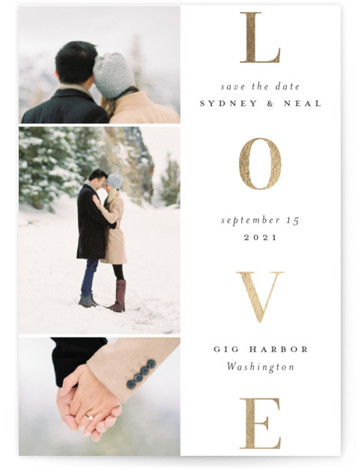 Lovely stack Foil-Pressed Save The Date Cards