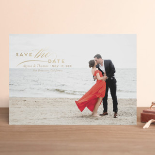 Contemporary Classic Foil-Pressed Save The Date Cards