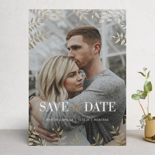 Foiled Leaves Foil-Pressed Save The Date Cards