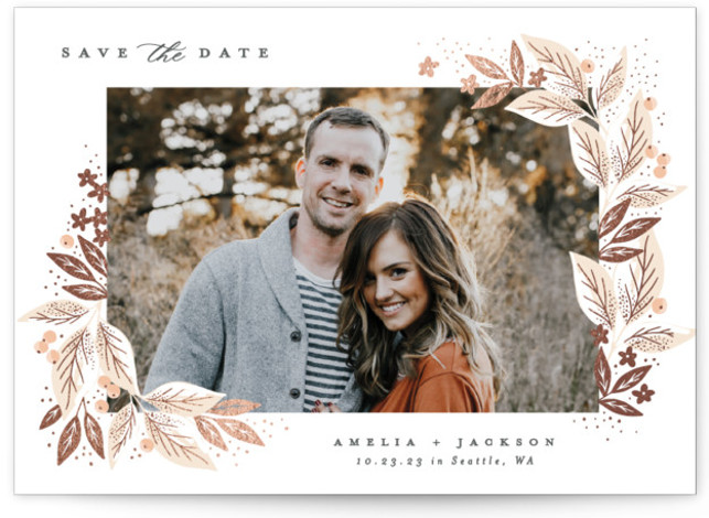 Leafy Corners Foil-Pressed Save The Date Cards