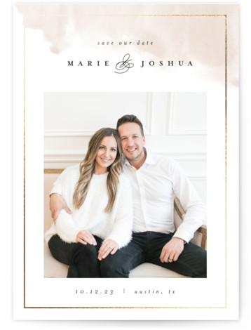 Modern Sweep Foil-Pressed Save The Date Cards