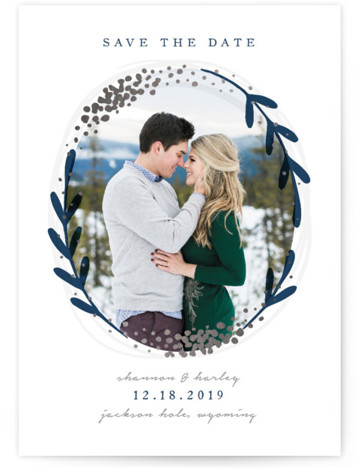 winter day Foil-Pressed Save The Date Cards