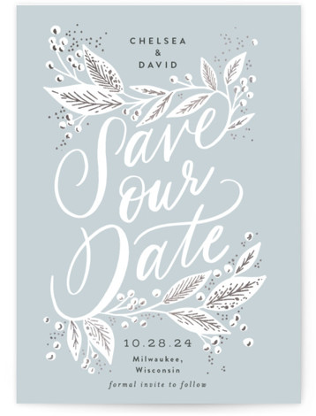 Scripted Botanicals Foil-Pressed Save The Date Cards
