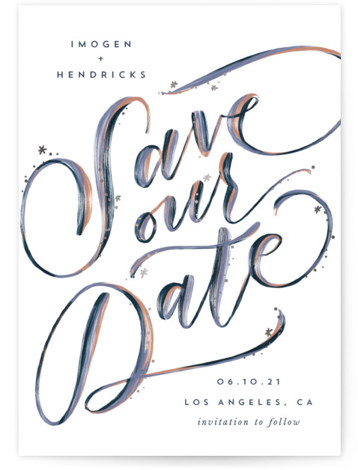 Starry Eyed Foil-Pressed Save The Date Cards