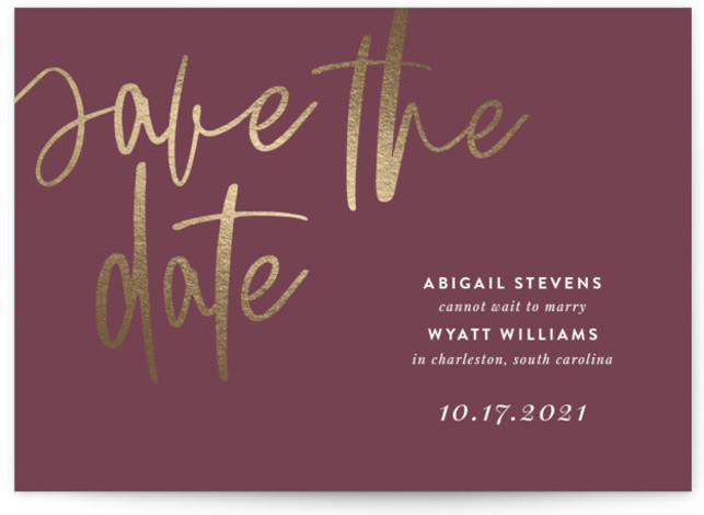 Simply Cannot Wait Foil-Pressed Save The Date Cards