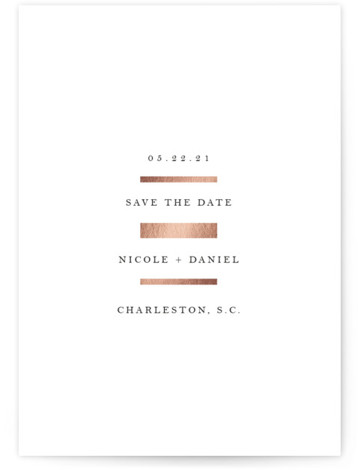 Linear Foil-Pressed Save The Date Cards
