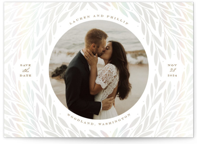 Foliage Frame Gloss-Pressed Save The Date Cards