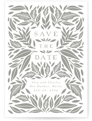 Printed Leaves Letterpress Save the Date Cards