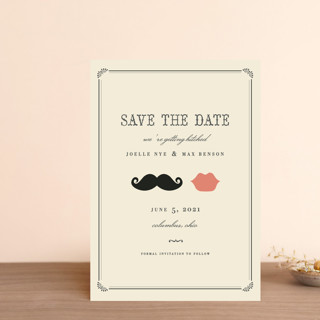 Stache + Kiss Save the Date Petite Cards