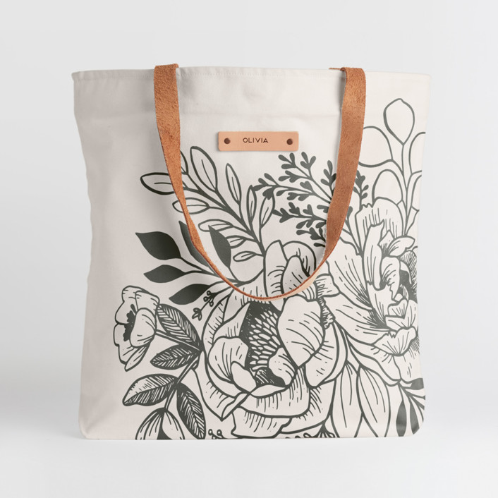 Etched Flowers Snap Tote, $30