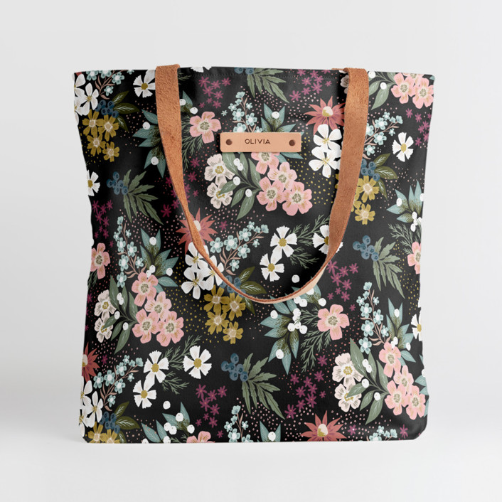 Wildflower Scatter Snap Tote, $30