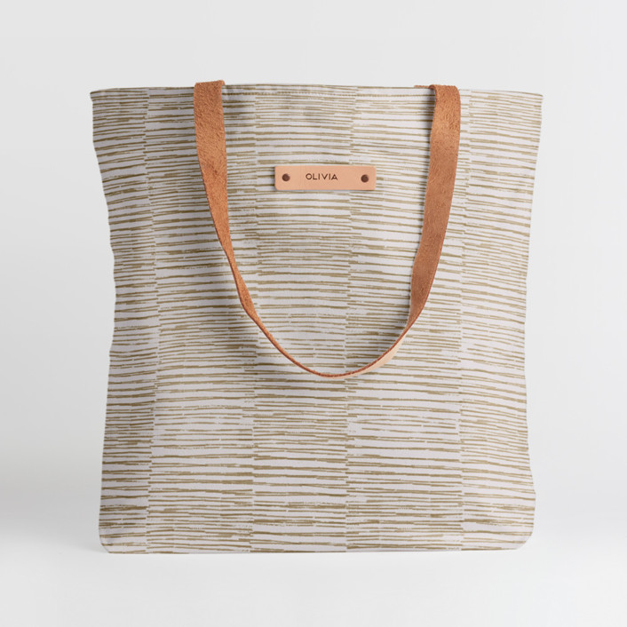 Dashed Stripes Snap Tote