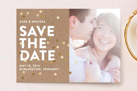 Confetti Glitz Photo Save The Date Postcards