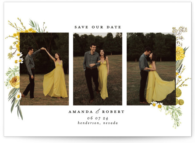 Organic Florals Save The Date Cards