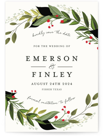Vines of Green Save The Date Cards