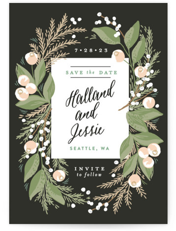 Rustic Floral Fern Save The Date Cards