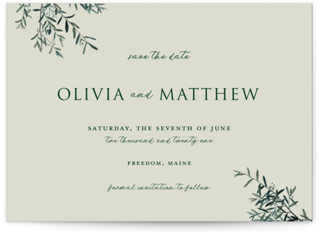 Fresh Sage Save The Date Cards