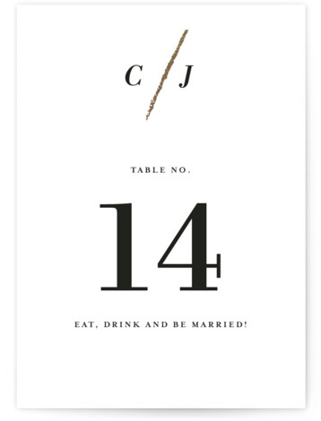 Minimalist Brush Foil-Pressed Table Numbers