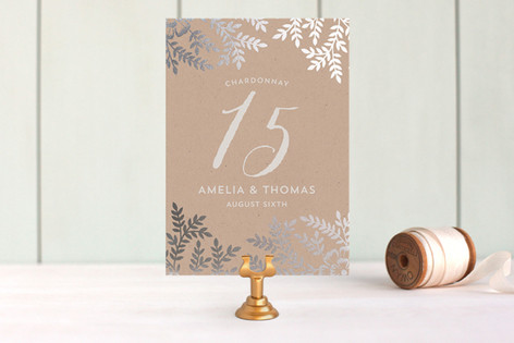 Leaves and Kraft Foil-Pressed Wedding Table Numbers