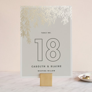 Olive Branches Foil-Pressed Wedding Table Numbers