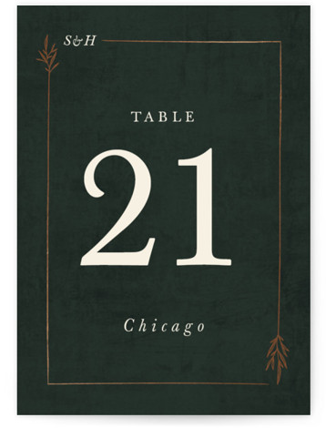 Organic Border Foil-Pressed Table Numbers
