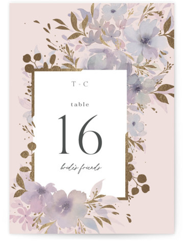 Frosted Blossoms Foil-Pressed Table Numbers