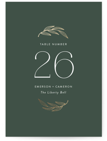 complete Foil-Pressed Table Numbers