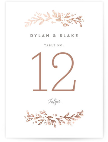 Rolling Names Foil-Pressed Table Numbers