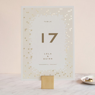 Mosaic Waves Foil-Pressed Wedding Table Numbers
