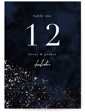 glistening stardust Foil-Pressed Table Numbers