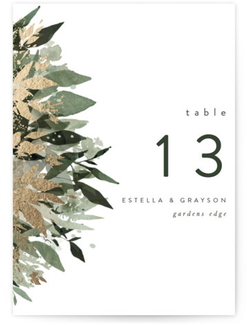 Flourishing Edge Foil-Pressed Table Numbers
