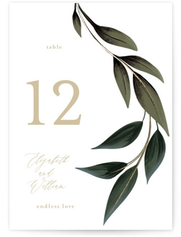 Cascading Vine Foil-Pressed Table Numbers