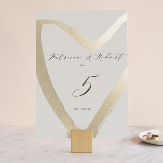 love heart Foil-Pressed Wedding Table Numbers